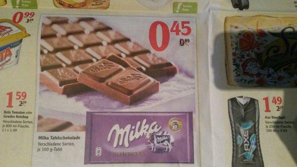 Milka Tafelschokolade 0,45€/100g