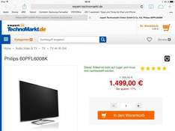"""Philips 60PFL6008K für 1499€ - 60"""" 3D LED mit Ambilight und allen Extras"""