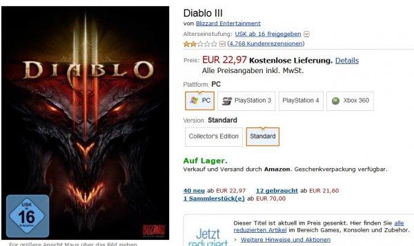 Diablo 3 PC bei Amazon für 22,97 - XBOX360 und PS3 für 29,97