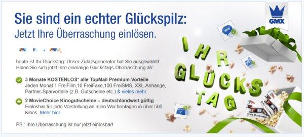 3 Monate GMX Premium + 2x Moviechoice Gutschein