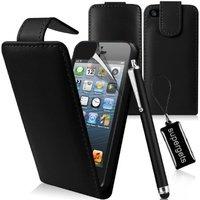 Supergets® Schlichte Einfarbige Flipcase fuer Apple Iphone 5S / 5 inkl Stift