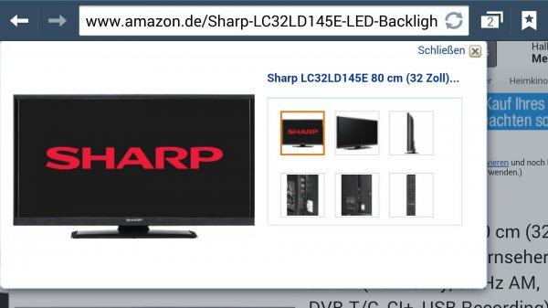 Amazon Sharp LC32LD145E 80 cm (32 Zoll) LED-Backlight-Fernseher, EEK A (HD-Ready, 50 Hz AM, DVB-T/C, CI+, USB Recording) schwarz