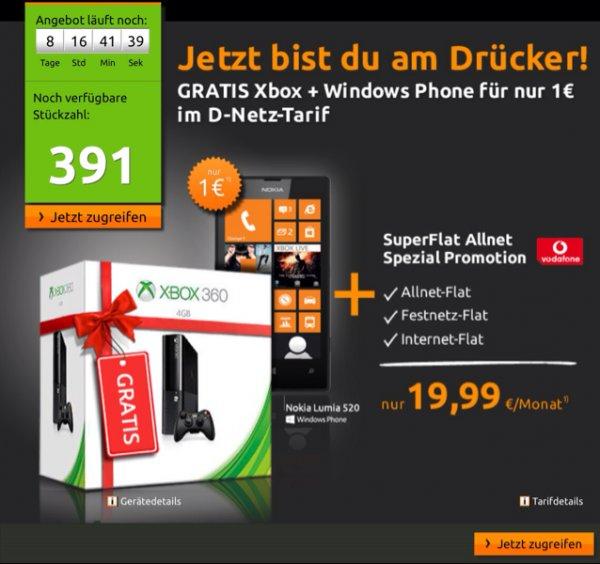Nokia Lumia 520 + Xbox 360 mit SuperFlat Allnet  19,99€