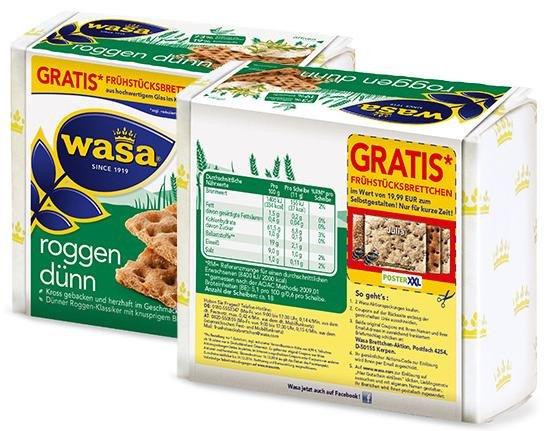 """""""Kostenloses"""" WASA Frühstücksbrettchen beim Kauf von 2 WASA Aktionspackungen"""
