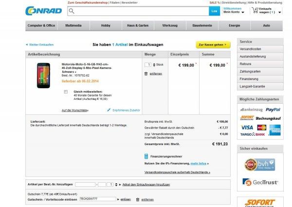 Motorola Moto G  16 GB  + Conrad Gutschein   191,23€
