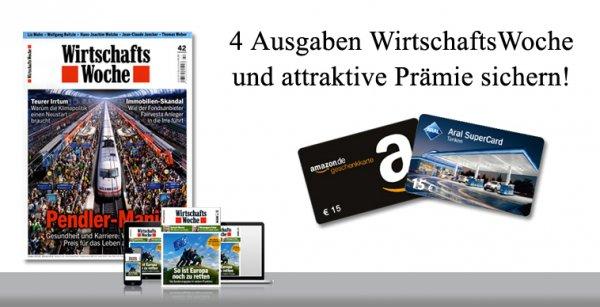 """4x WirtschaftsWoche Print & Digital mit effektiv kleinem """"Gewinn"""" und zusätzlich 3€ Cashback"""