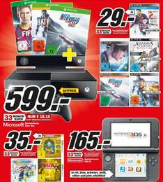 Fifa 14,NFS Rivals,Battlefield 4,Beyond,Assassins Creed IV für PS3/Xbox360 29€, XboxOne+3Spiele 599€ Lokal [Mediamarkt Düsseldorf]
