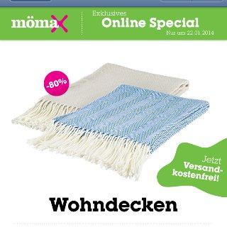 Mömax Wohndecke Emila für 4€ Versandkostenfrei