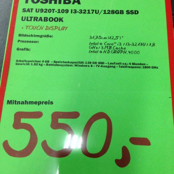 Toshiba Sattelite U920T-109 für €550 im Mediamarkt Viernheim