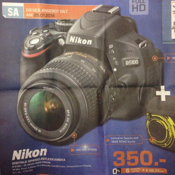 [Lokal] Nikon D5100 18-55VR+16GB SDHC Karte+Tasche 350€, saturn stuttgart