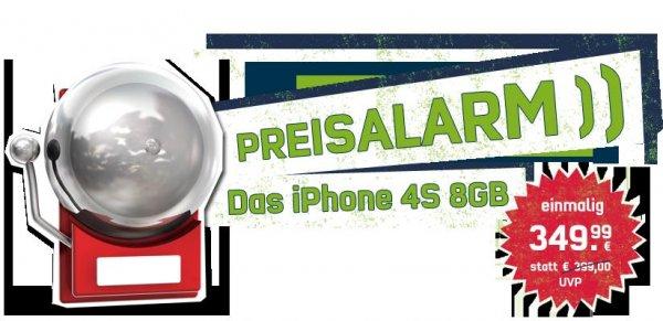 iPhone 4S 8GB ohne Simlock / Netlock für 349,99€ bei mobilcom debitel - auch mit  0% Finanzierung