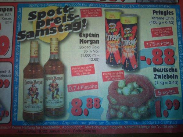[Jawoll] Pringles Xtreme Chili (0,88 EUR) Captain Morgan (8,88 EUR) und 5 Kg Zwiebeln (1,99 EUR) am Spottpreis-Samstag