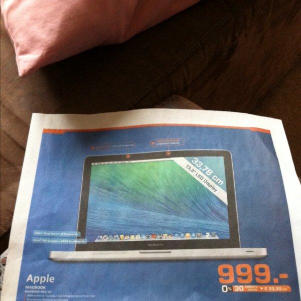 Apple MacBook Pro 33,78cm , 2,5 GHz, Intel Core i5, 500GB SATA 4 GB ( 999 Euro im Saturn Bielefeld)