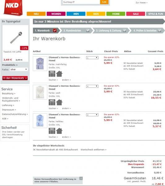 [NKD online] 7 Diamant's Business Hemden in XXL für 18,46 € bei Filialversand (2,63€/Stück)