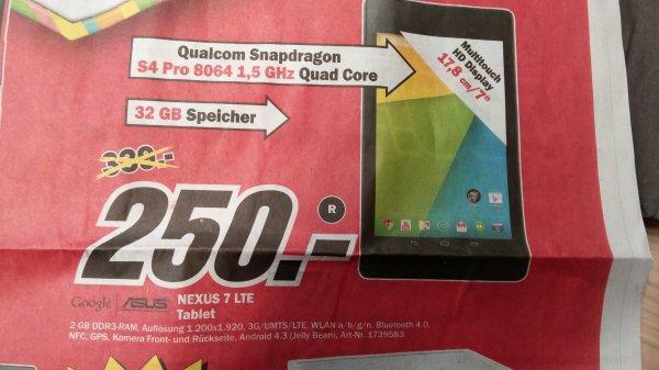 (Lokal) Nexus 7 (2013) LTE 32 GB für 250 Euro