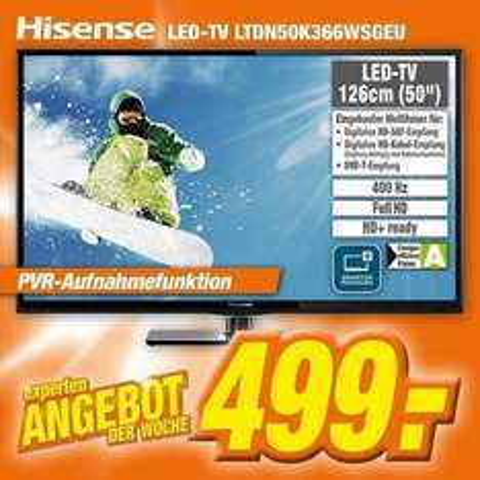 """[EXPERT] Hisense LTDN50K366 126cm 50"""" LED Fernseher Smart TV 400 Hz DVB-T/C/S PVR für 499€"""