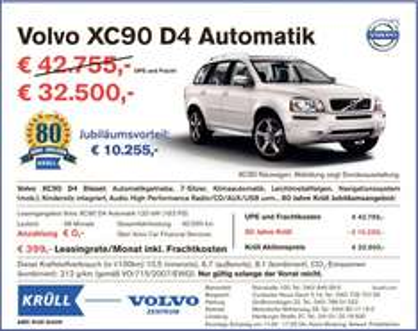 Lokal - HH: Leasingangebot Volvo XC90 D4, Automatik, 163 PS