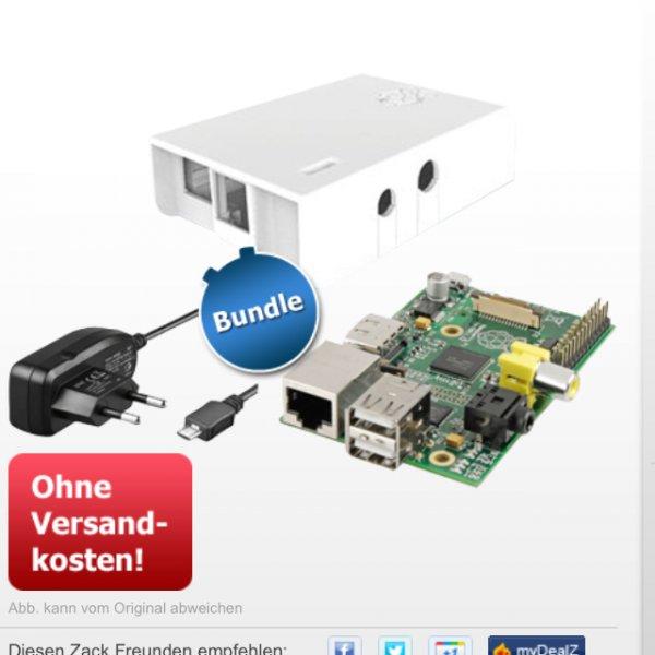 Raspberry Pi Model B + Ladegerät + Gehäuse