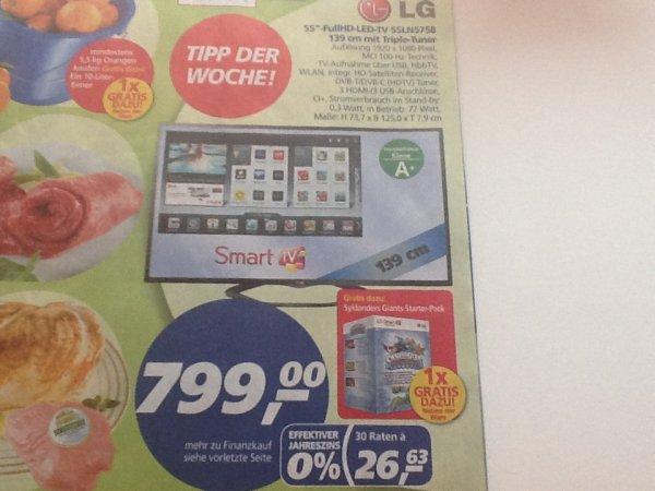 [Real] LG, Full HD LED TV, 55LN5758 139cm (55 Zoll), Inkl. Skylanders Giants Starter-Pack 799€ inkl. Rabattkauf 721,10€