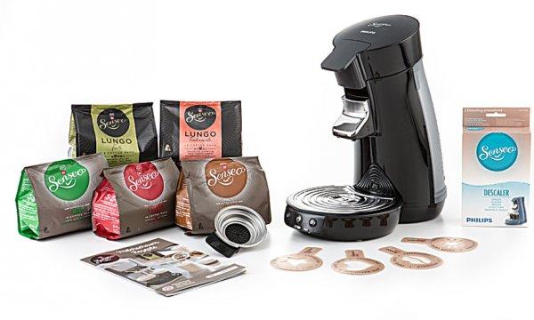 PHILIPS Senseo Viva HD 7825 Cafe schwarz + 8-teiliges Zubehörset ( 72Pads + Rezeptheft + Entkalker) für nur 49,90€ inkl. Versand  - Idealo: 66€ ohne das Zubehör +6% QIPU