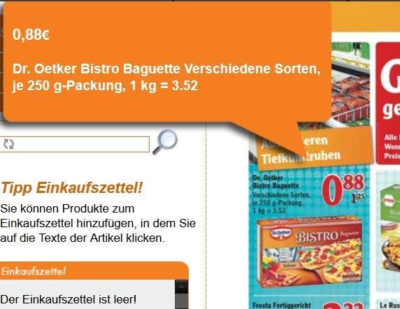 [Globus Köln] Lokal? Dr. Oetker Bistro Baguette versch. Sorten für 0,88€