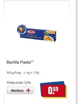 [REWE] Barilla Pasta verschiedene Sorten 500g Pckg. für 0,69€