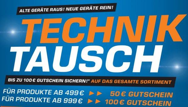Ab Mittwoch: 50€ Gutschein ab 499€ Einkauf, 100€ Gutschein ab 999€ Einkauf @Saturn (bundesweit, auch online)