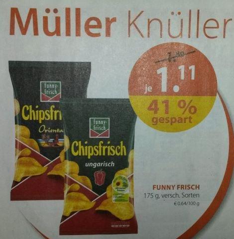 [Müller] : Funny Frisch Chipsfrisch 175g, versch. Sorten für 1,11 €
