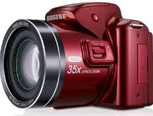 Samsung WB2100 Digitalkamera (16,3 Megapixel, 35-fach opt. Zoom, 7,6 cm (3 Zoll) LCD-Display, Full HD, HDMI) rot