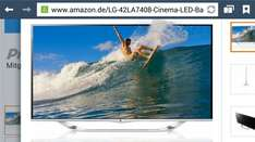 Amazon.de LG 42LA7408 106 cm (42 Zoll) Cinema 3D LED-Backlight-Fernseher, EEK A+ (Full HD, 800Hz MCI, WLAN, DVB-T/C/S, Smart TV) silber idealo 771 €