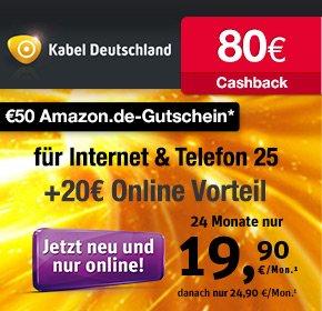 Kabel Deutschland 25MB mit 50€ Amazon Gutschein+ 80€ Cashback von Qipu + bis zu 6 Gratis Monate- effektiv 15,31€ / Monat