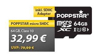 Poppstar micro SDXC 64GB (Class 10) Speicherkarte für 32€