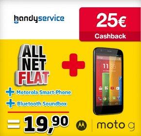 All-Net-Flat + Internet Flat für 19,90 Euro/Monat+ Motorola Moto G für 1€+ 25€ Cashback