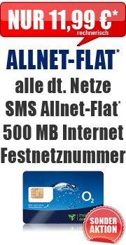o2 Blue All-in M Allnet + Internet Flat + Festnetznummer eff. 11,99€ mt