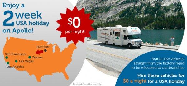 2 Wochen Neuwagen-Wohnmobil in den USA plus 500$ Spritgeld kostenlos im April