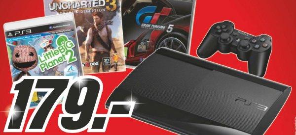 SCHWEIZ | Lokal | Media Markt - Sony PS 3 - 12 GB Black inkl. Gran Tourismo 5, Uncharted 3 & Little Big Planet 2
