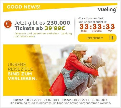 Billige Flüge - Jetzt gibt es 230.000 Tickets ab 39,99€