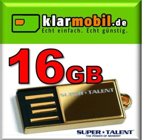 klarmobil SIM-Karte + 15€ Startguthaben + 16GB SuperTalent Pico C GOLD