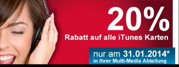 20% Rabatt auf alle iTunes Karten bei Müller [bundesweit] nur am 31.01.2014