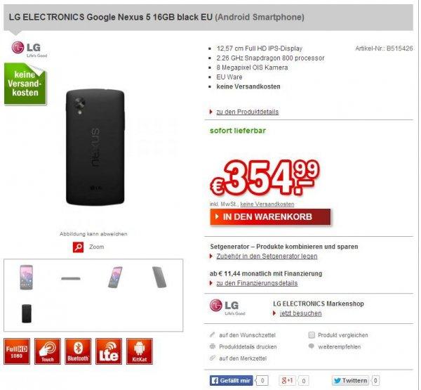 LG Google Nexus 5 16GB Schwarz für 354,99€ @Redcoon