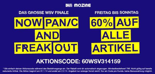 Mazine 60 % auf alles im Online Shop