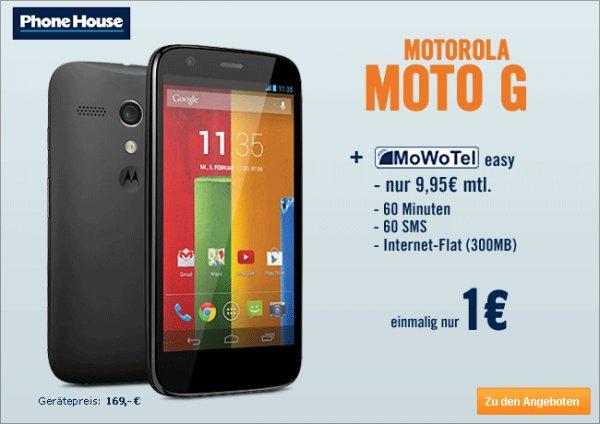 Motorola Moto G inkl. D-Netz Vertrag (Flat 60 min, 300 MB Internet, 60 SMS, mon. 9,95 EUR) für 1 EUR
