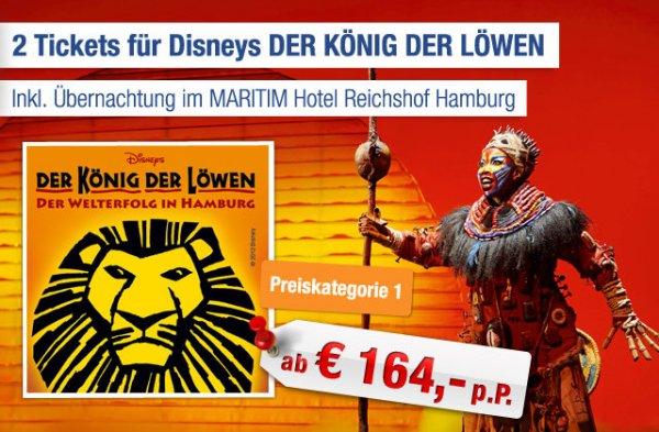 2 Tickets für Disney König der Löwen inkl. Übernachtung ab 164€ p.P.