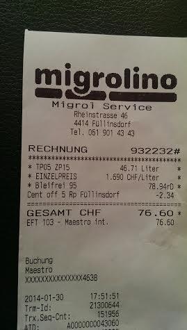 SCHWEIZ | LOKAL | SHELL - ein Liter Super Bleifrei 95 für umgerechnet - 1,37 Euro