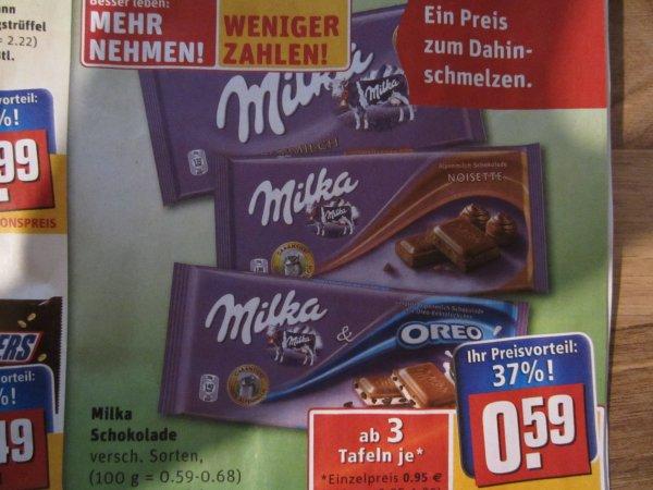 REWE  Milka Schokolade    .. ab 3 jed e 0,59 Eruo