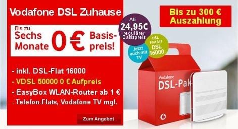Vodafone VDSL ab effektiv 17,20 € / Monat (bei 24 Monate MVLZ). Durch Vodafone-Vorteil sogar ab effektiv 7,20 € / Monat  möglich.