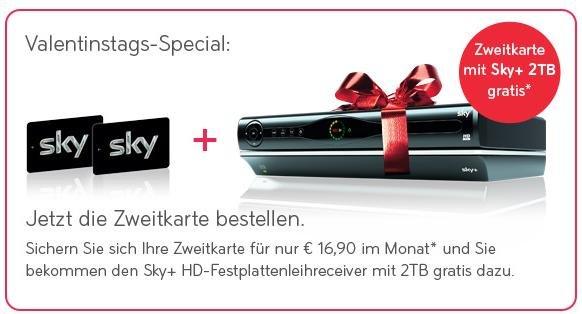 Sky Valentinstagsspecial 2TB Receiver für 0,00 bei Buchung einer Zweitkart