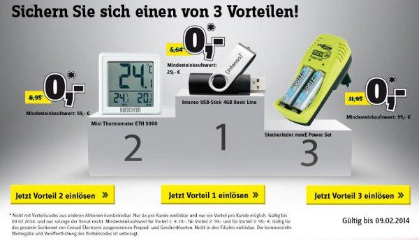 [MBW] Gratis USB-Stick, Thermometer oder Batterieladegerät bei Conrad
