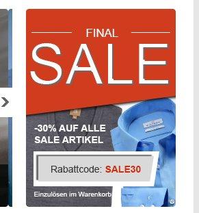 30 % auf viele Marken (z.B. Olymp Hemden, Maerz Pullover, Camel Active, Eterna, Jockey, Lee, Einhorn, etc.)