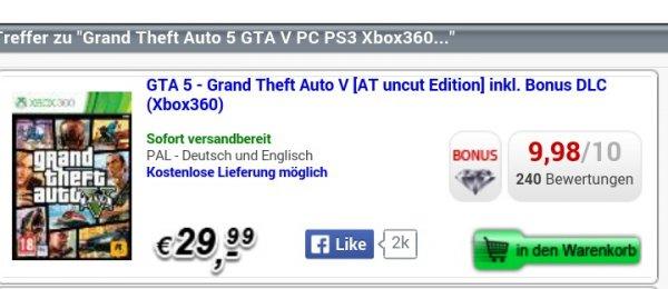 Gta 5 bei gamesonly.at für günstige 29,99 +5,99 Versand